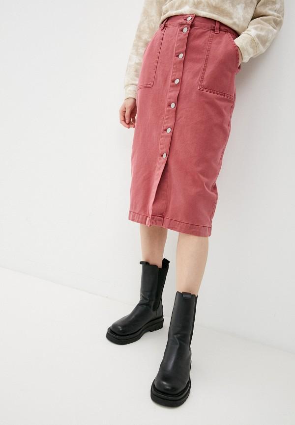 женская джинсовые юбка sela, розовая