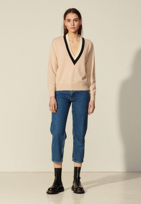 женский пуловер sandro, бежевый