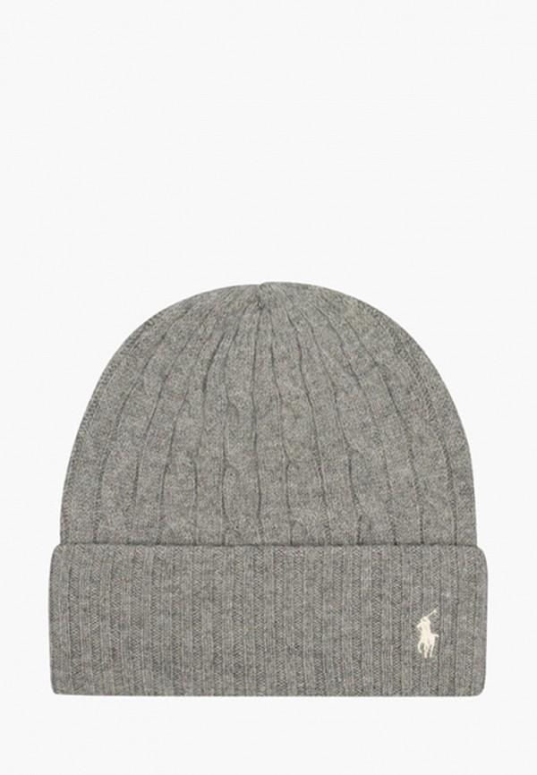 женская шапка polo ralph lauren, серая