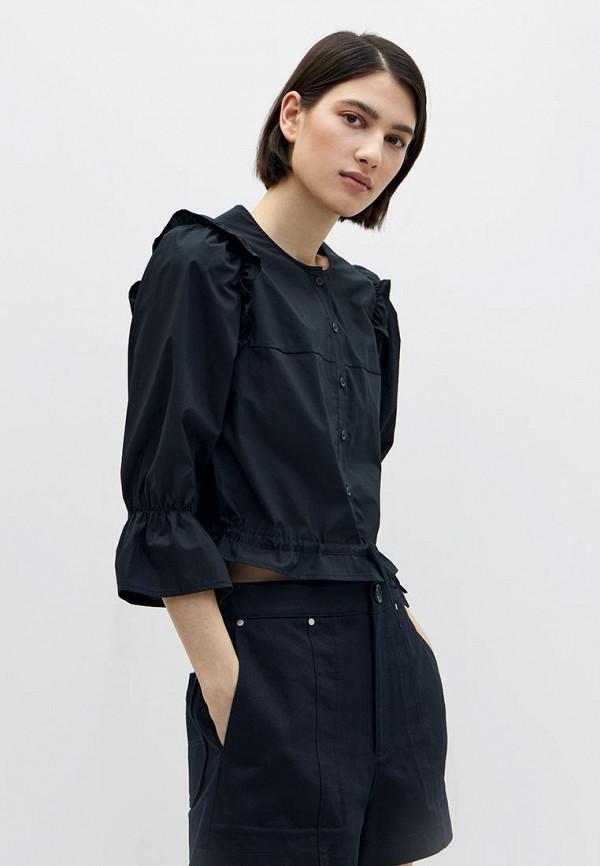 женская рубашка с длинным рукавом lime, черная