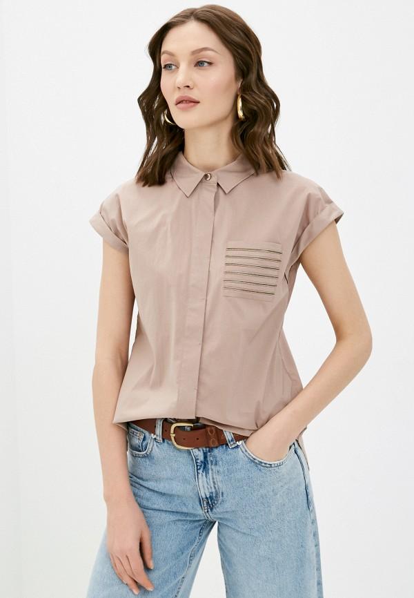женская рубашка с коротким рукавом baon, бежевая