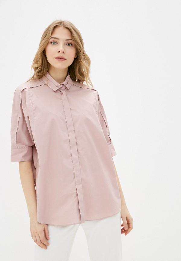 женская рубашка с коротким рукавом baon, розовая