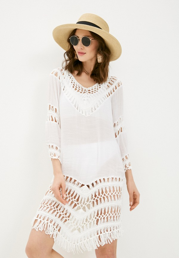 Платье пляжное Naturel. Цвет: белый