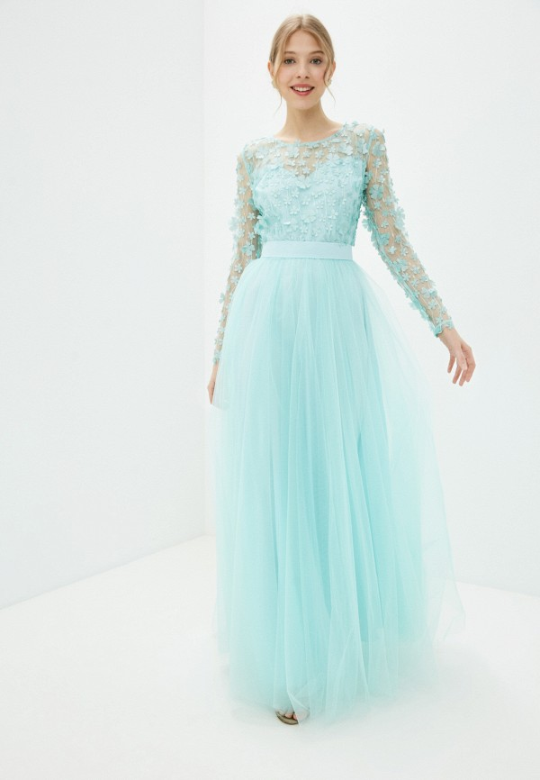 женское вечерние платье seam, бирюзовое