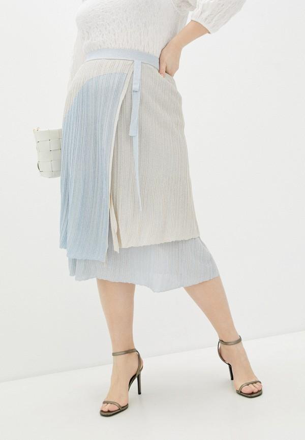 женская плиссированные юбка cepheya, голубая
