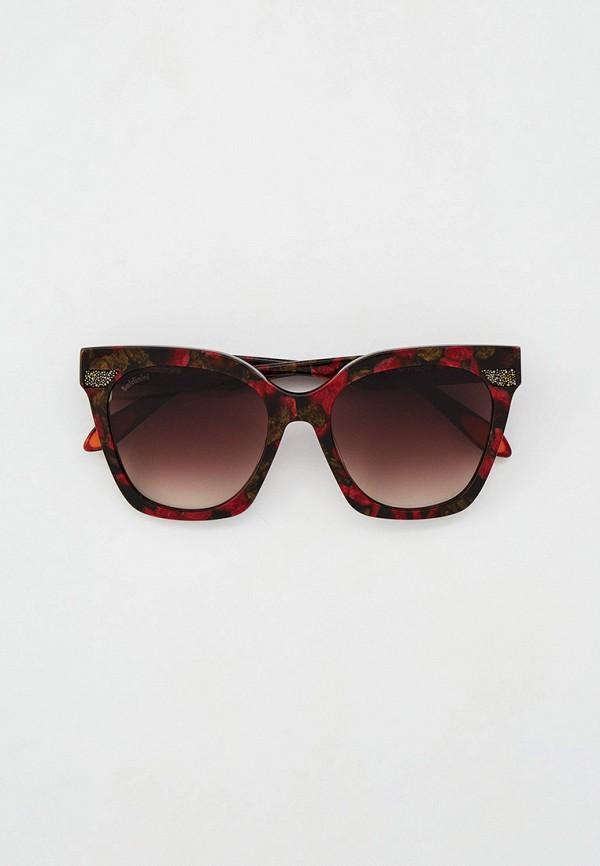 женские квадратные солнцезащитные очки baldinini, бордовые
