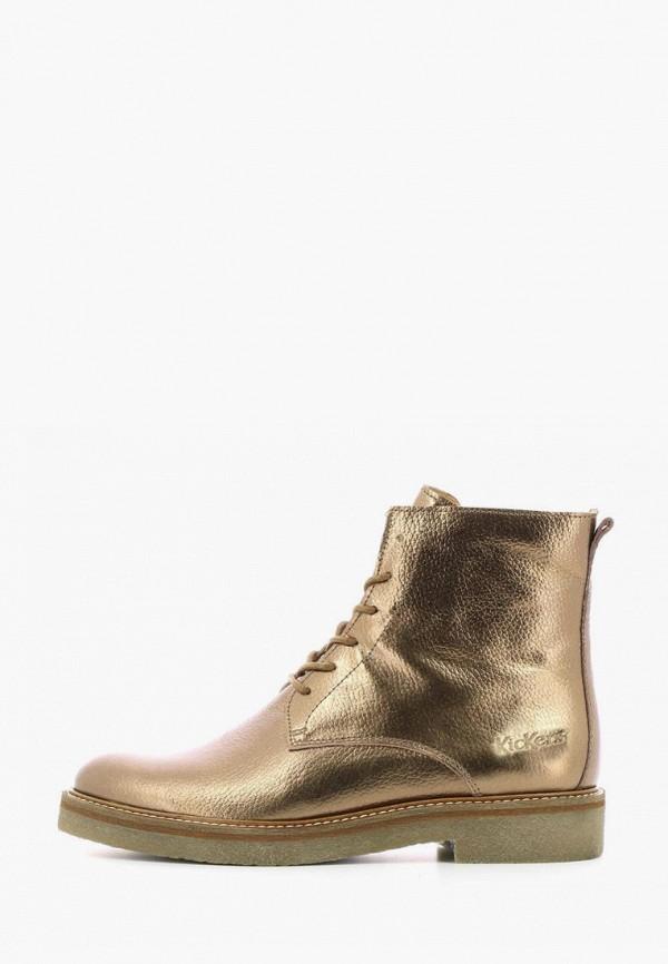 женские высокие ботинки kickers, золотые