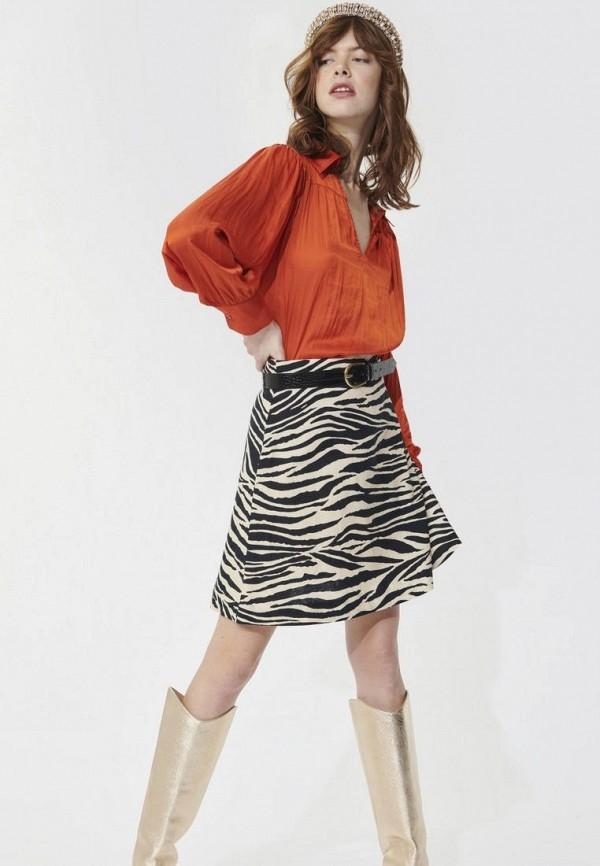 женская блузка с длинным рукавом tara jarmon, оранжевая