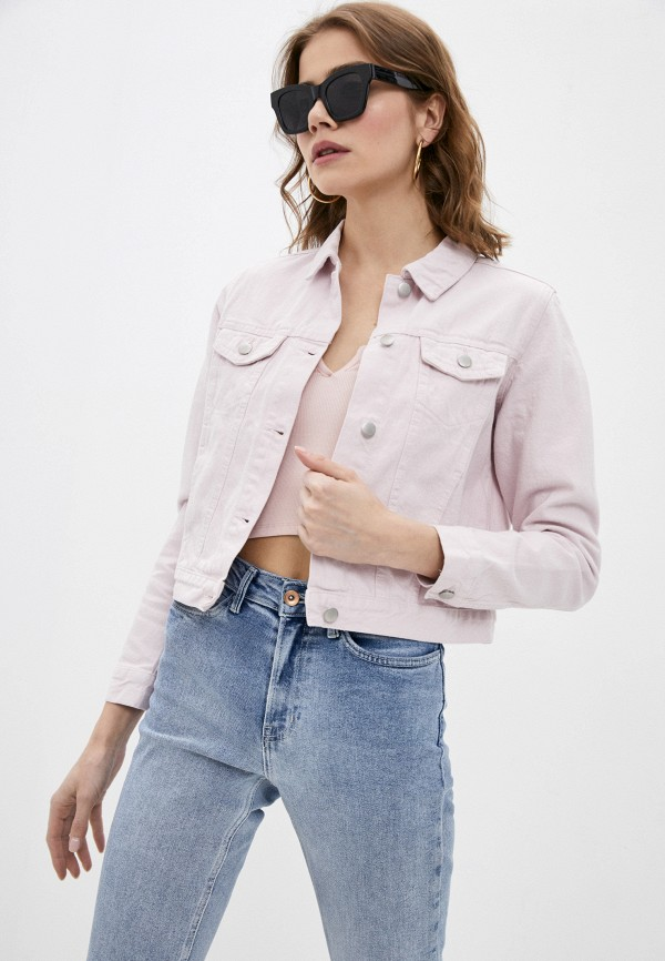 женская джинсовые куртка befree, розовая