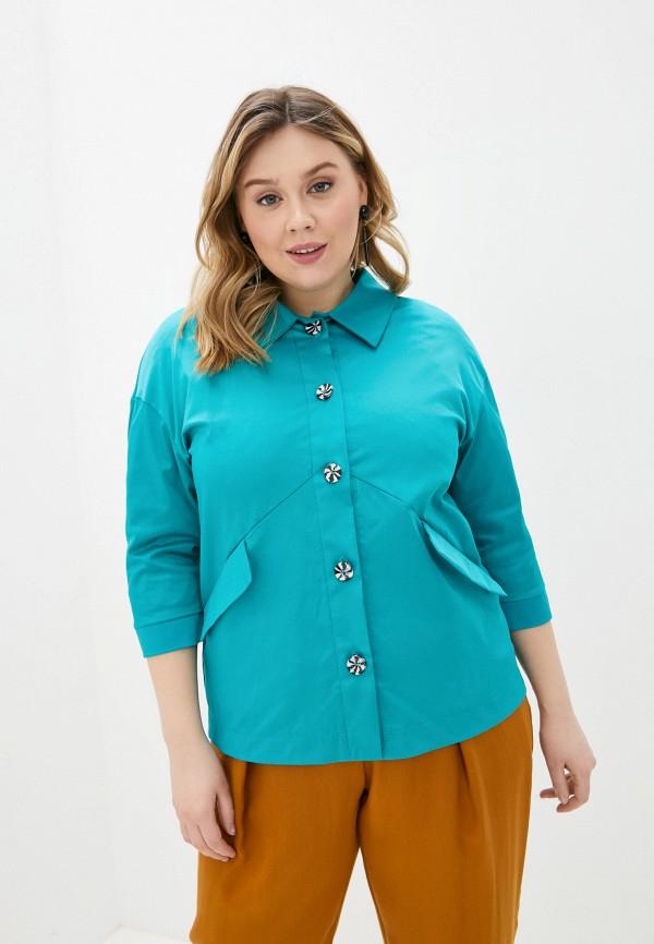 женская блузка с длинным рукавом olsi, бирюзовая