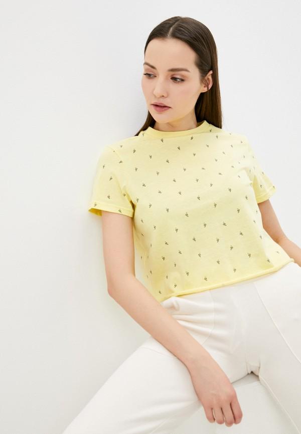 женская футболка befree, желтая