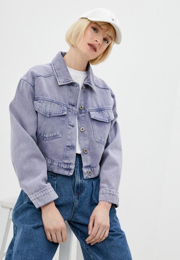 женская джинсовые куртка befree, фиолетовая