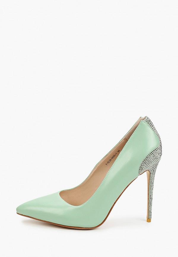 женские туфли-лодочки grand style, зеленые