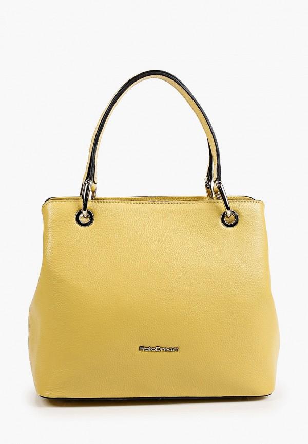 женская сумка с ручками fiato, желтая