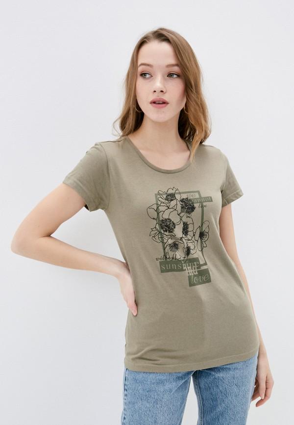 женская футболка baon, хаки