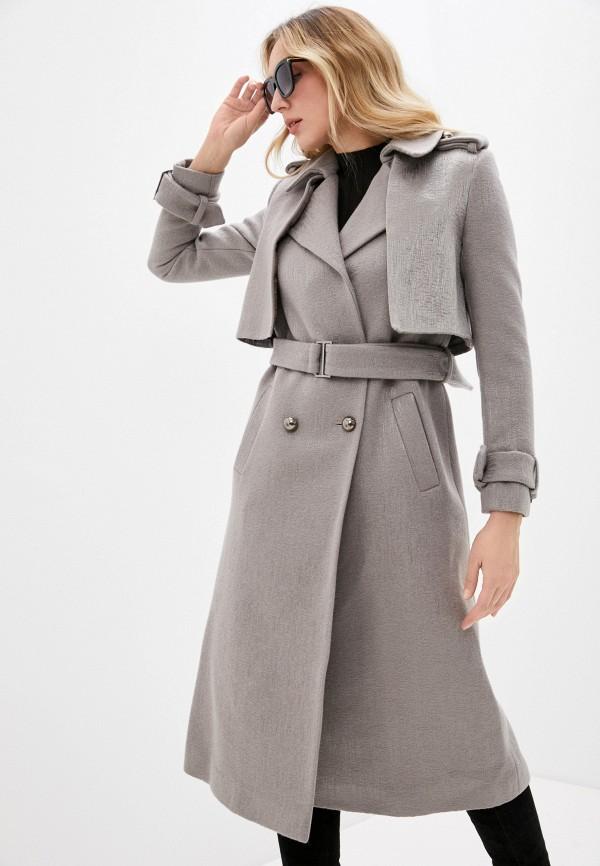 женское двубортные пальто gk moscow, серое