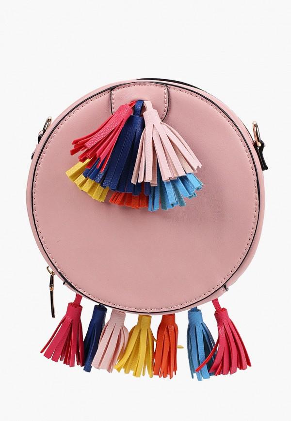женская сумка через плечо модные истории, розовая