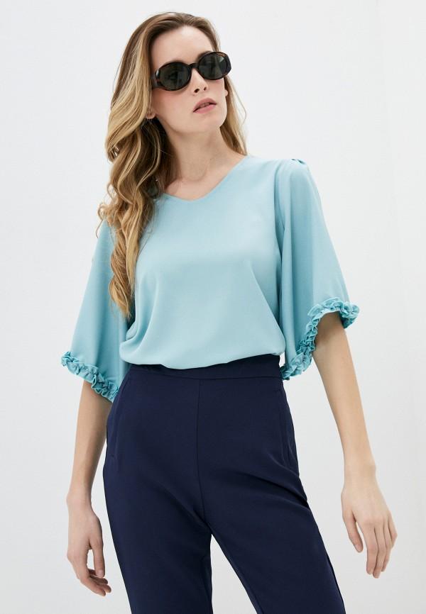 женская блузка с коротким рукавом мадам т, бирюзовая