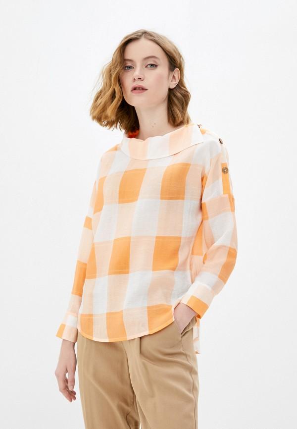женская блузка с длинным рукавом мадам т, оранжевая
