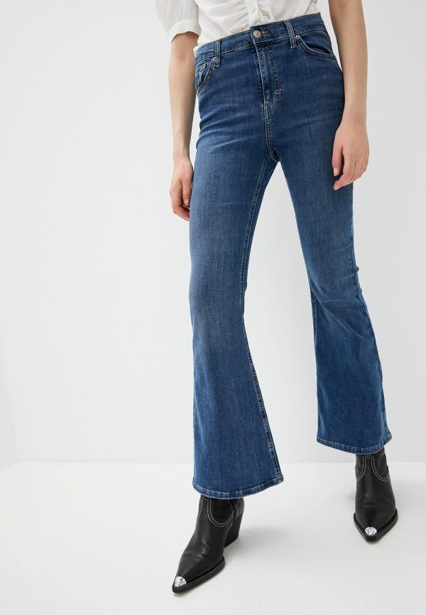 женские джинсы клеш topshop, синие