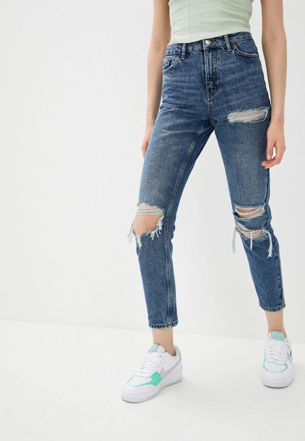 женские джинсы-мом topshop, синие