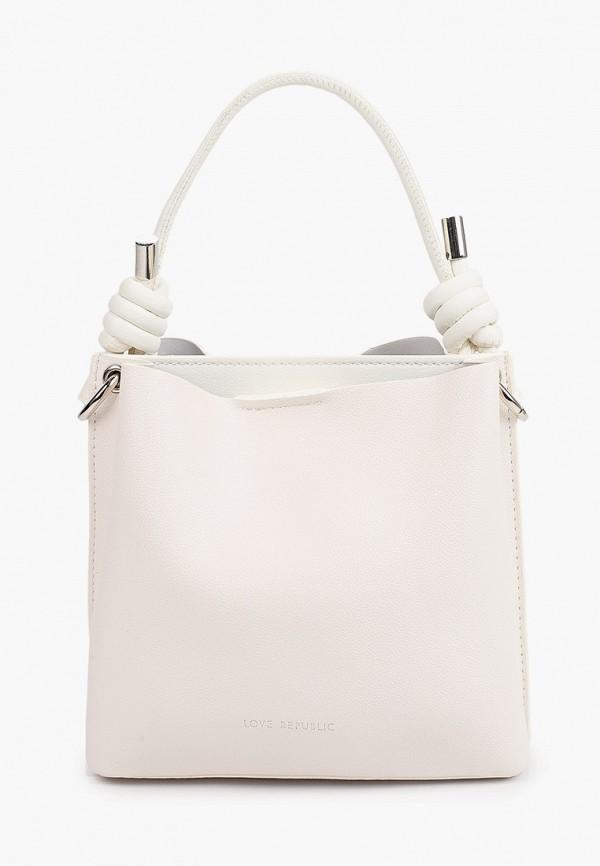 женская сумка с ручками love republic, белая