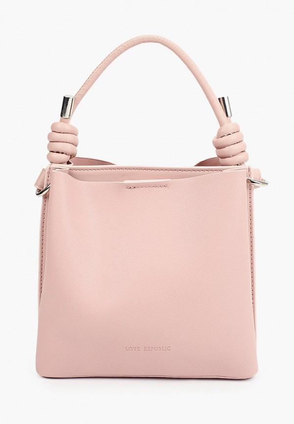 женская сумка с ручками love republic, розовая