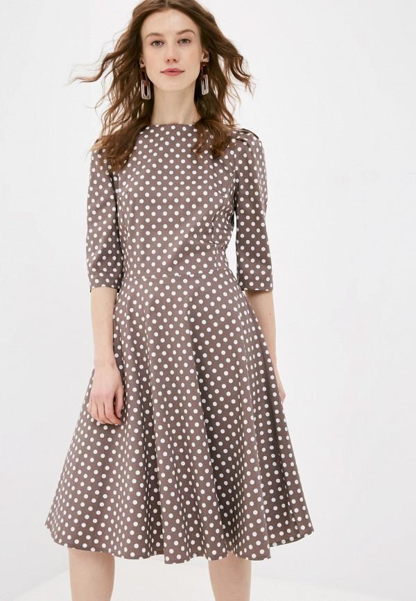 женское повседневные платье анна голицына, коричневое