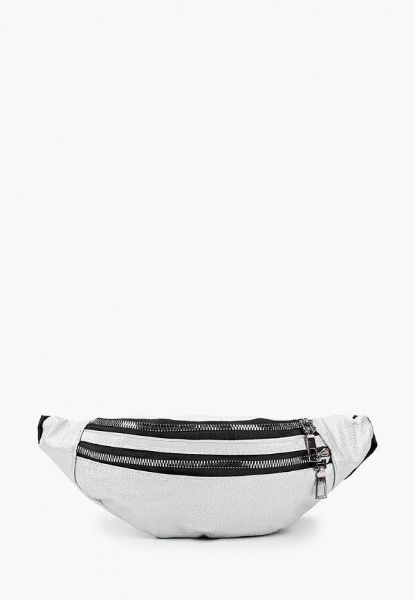 женская поясные сумка leotex, серебряная
