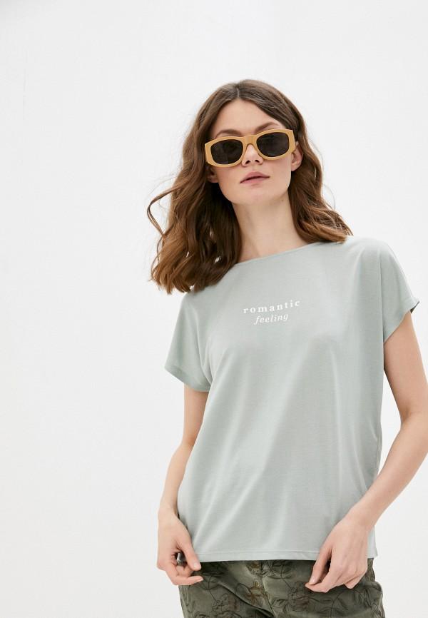 женская футболка o'stin, бирюзовая