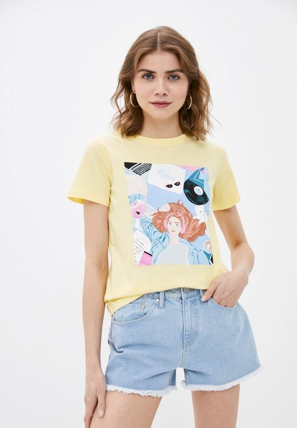 женская футболка o'stin, желтая