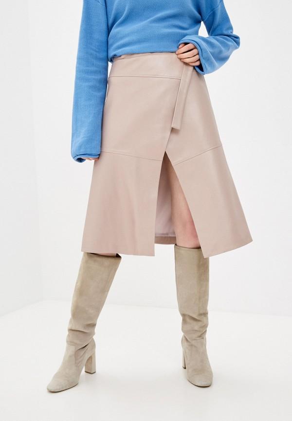 женская кожаные юбка katya erokhina, розовая