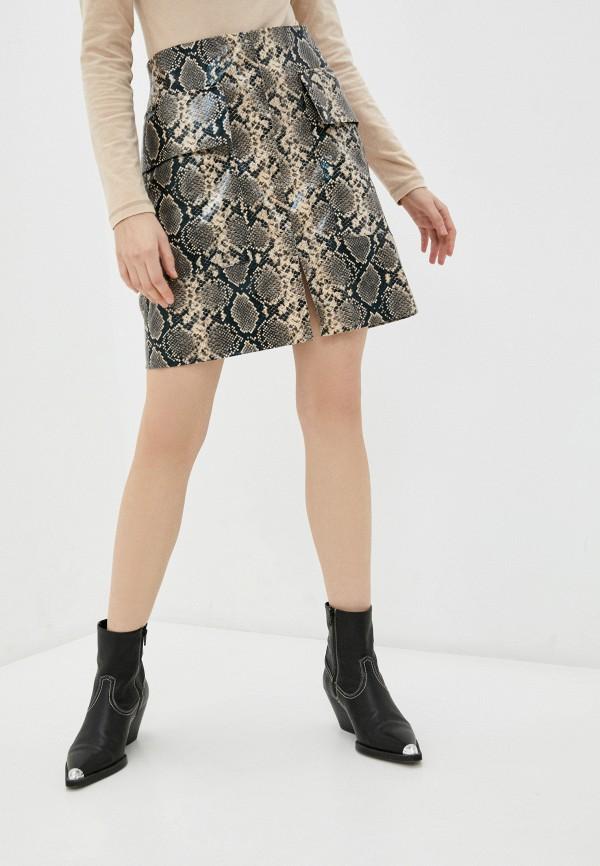 женская кожаные юбка katya erokhina, коричневая