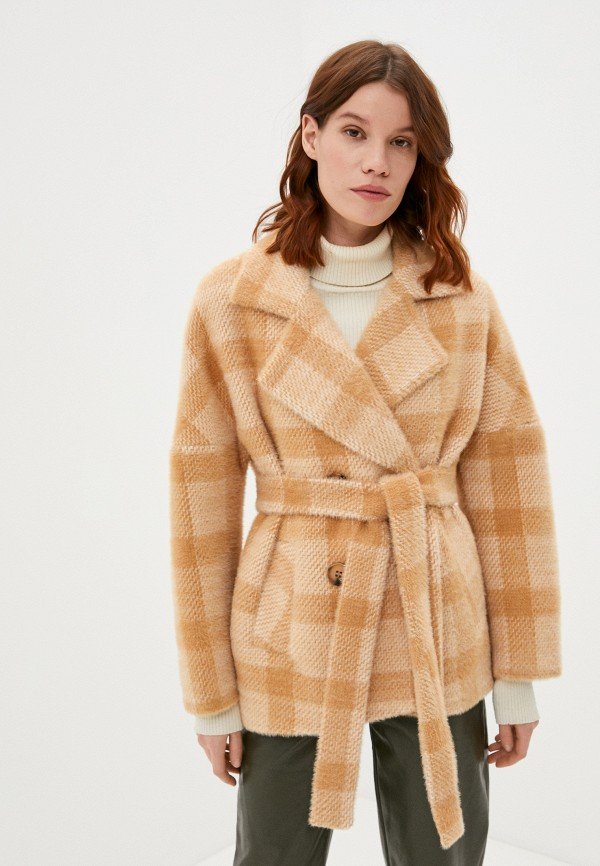 женское двубортные пальто meltem collection, бежевое