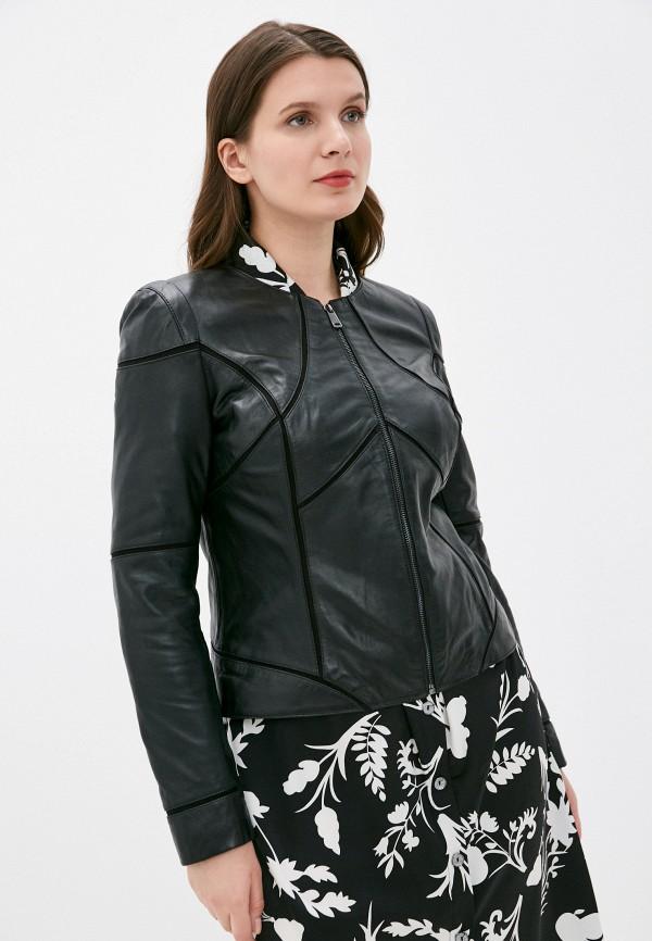 женская кожаные куртка снежная королева, черная
