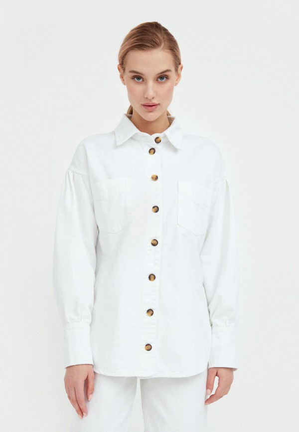 Рубашка джинсовая Finn Flare белого цвета