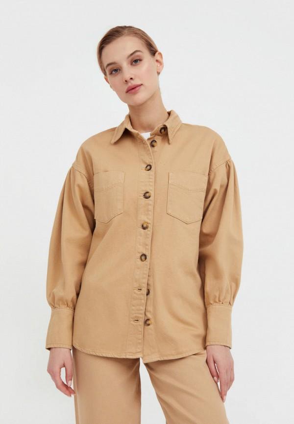 Рубашка джинсовая Finn Flare бежевого цвета
