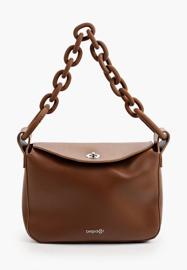 женская сумка с ручками dispacci, коричневая