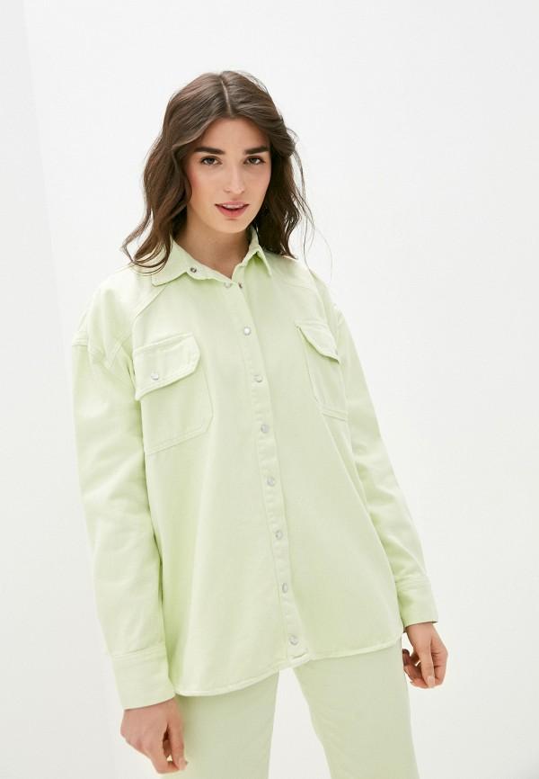 женская джинсовые рубашка top top, зеленая