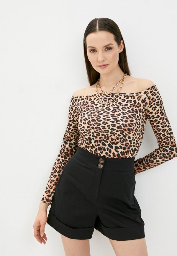 женский лонгслив a-a awesome apparel by ksenia avakyan, коричневый