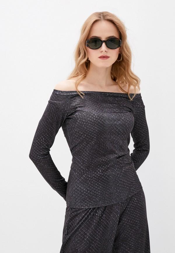 женский лонгслив a-a awesome apparel by ksenia avakyan, черный