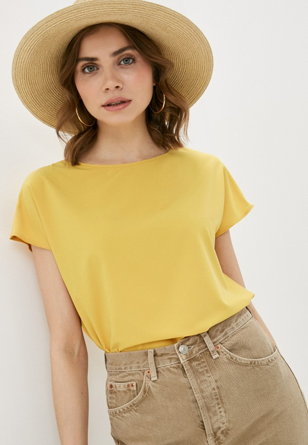 женская блузка с коротким рукавом a-a awesome apparel by ksenia avakyan, желтая