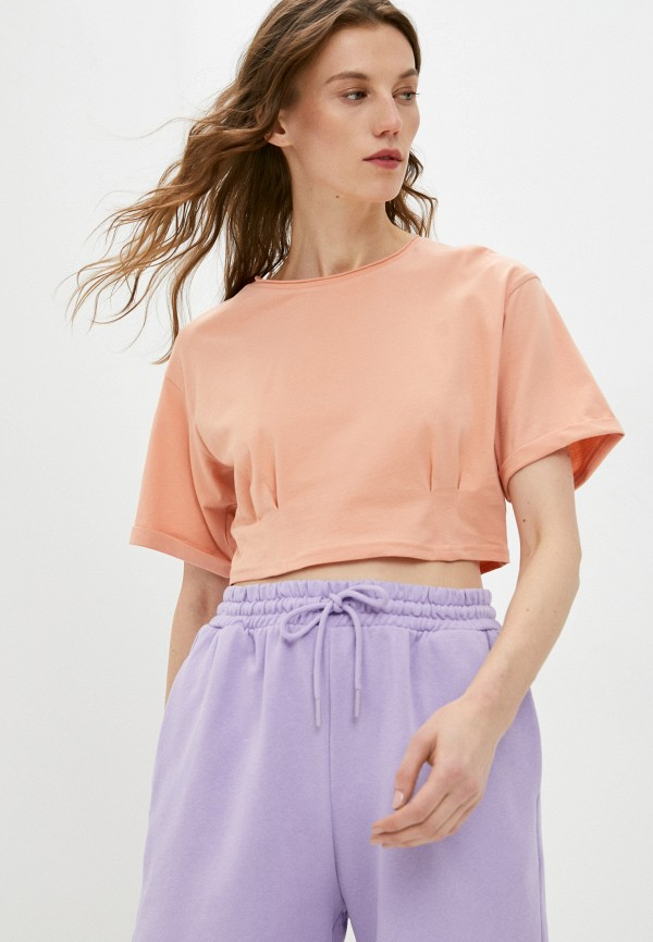 женская футболка befree, оранжевая