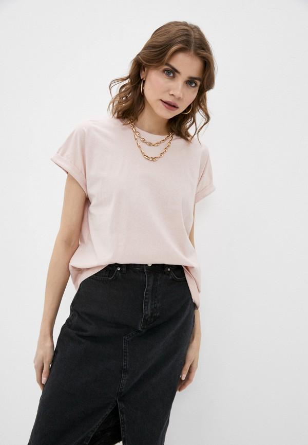 женская футболка befree, розовая