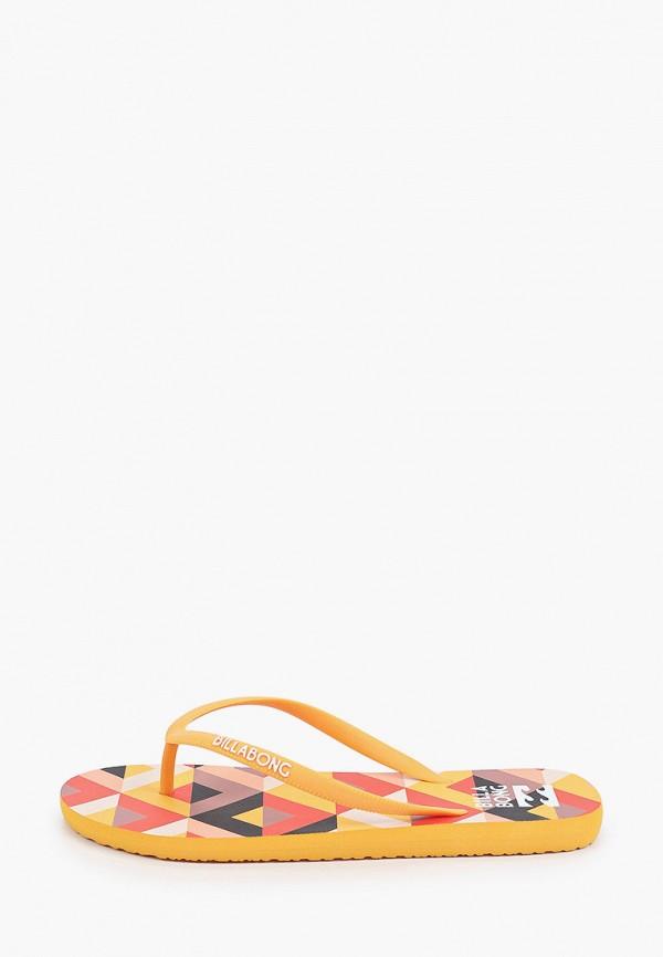 женские сланцы billabong, оранжевые