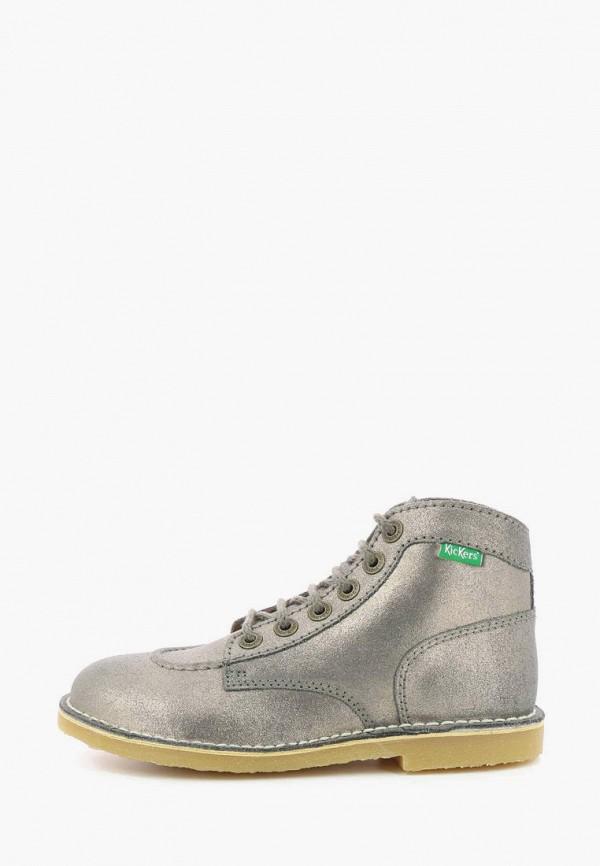 женские низкие ботинки kickers, серебряные
