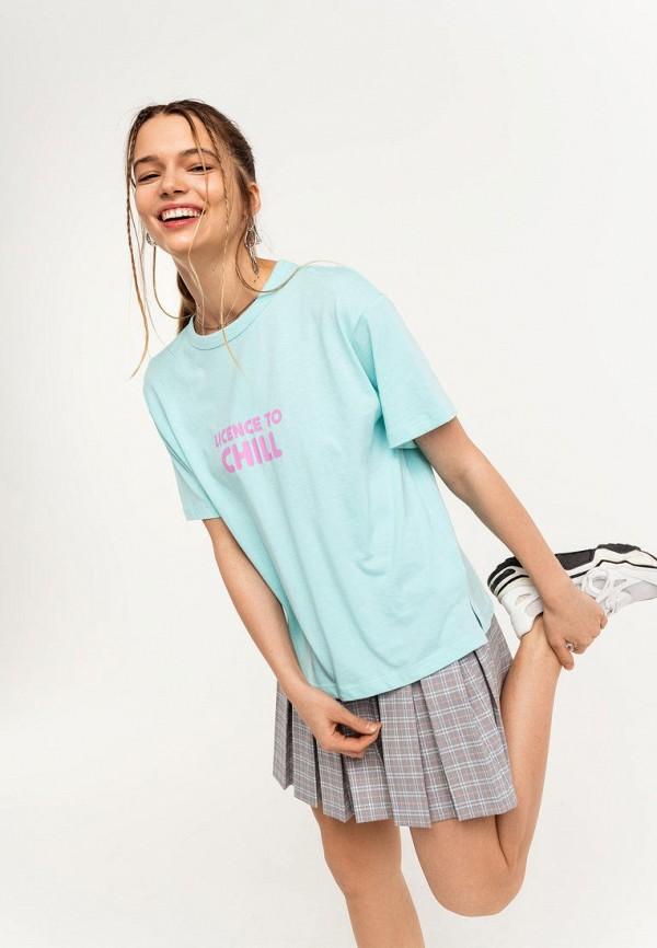 женская футболка befree, бирюзовая