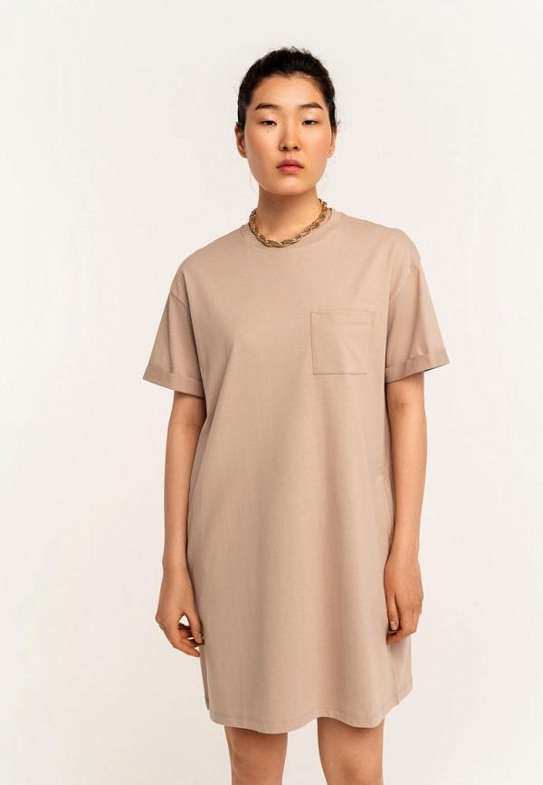 женское платье-футболки befree, бежевое