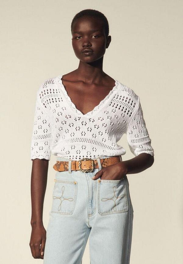 женский пуловер sandro, белый