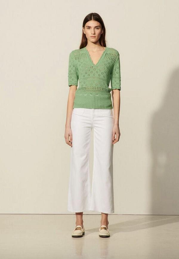 женский пуловер sandro, зеленый
